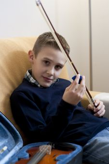 Young Boy With Violin Royalty Free Stock Photography