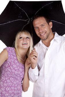 Free Happy Couple Under Umbrella Stock Photography - 17007832