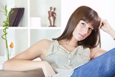 Free Woman Relaxing On Sofa Stock Photography - 17007842