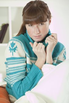 Free Woman In Sweater At Home Royalty Free Stock Images - 17007959