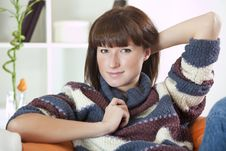 Free Woman In Sweater On Sofa Royalty Free Stock Image - 17007996