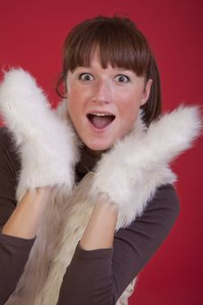 Free Surprised Woman In Winter Gloves Royalty Free Stock Photo - 17008335