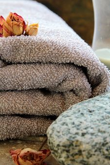 Free Gray Towel With A Rock Stock Photos - 17008513