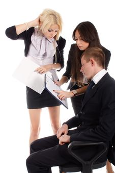 Business Team Reports To The Leader Stock Photos