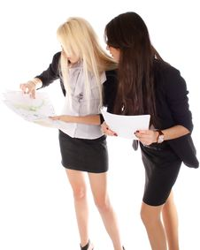 Free Two Businesswoman Looks On The Graph Stock Photography - 17009802