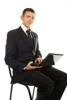 Free The Businessman On The Chair With Laptop Royalty Free Stock Photos - 17009838