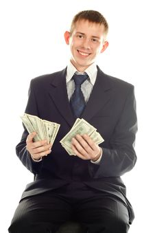 Free Business Man With Money Dollars Stock Photography - 17009882