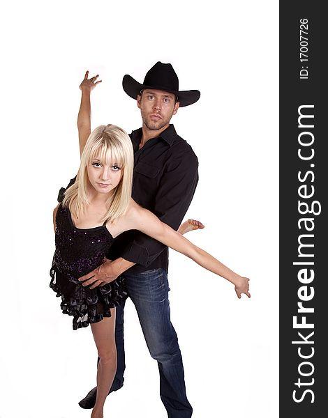 Cowboy holding his gal