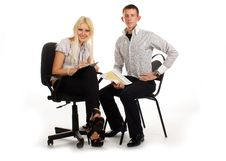 Free Businesswoman And Man On Office Chair Royalty Free Stock Image - 17010096
