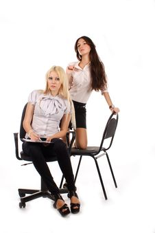 Free Two Businesswoman With Advisor On Office Chair Royalty Free Stock Photography - 17010107