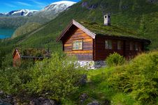 Autumn Norway Landscape With Hut Royalty Free Stock Photos