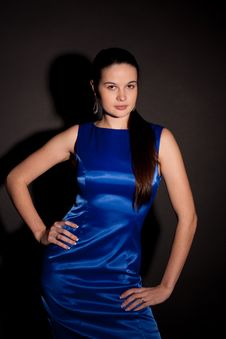 Free Woman In Blue Dress Royalty Free Stock Images - 17011819