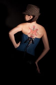 Free Woman With Tatoo On Her Back Stock Photography - 17011872
