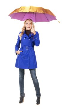 Free Lovely Surprised Woman With Umbrella Royalty Free Stock Photos - 17012238