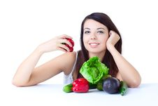 Free Young Girl With  Vegetables Royalty Free Stock Photos - 17012658