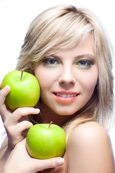 Free Young Girl With  Apples Royalty Free Stock Photo - 17012895