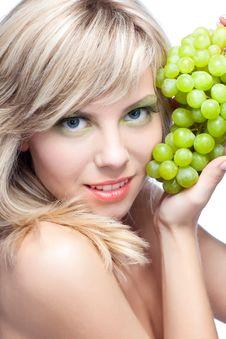 Young Girl With Grape Stock Photos