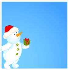 Free Little Cute Snowman With Gift Stock Images - 17013364