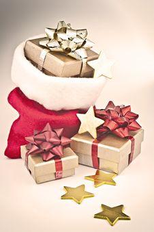 Christmas Gift Bag. Royalty Free Stock Photo