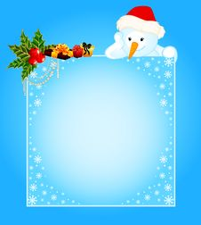 Free Little Cute Snowman With Banner Stock Photography - 17013512