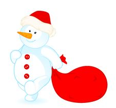 Free Little Cute Snowman With Sack Royalty Free Stock Photo - 17013535