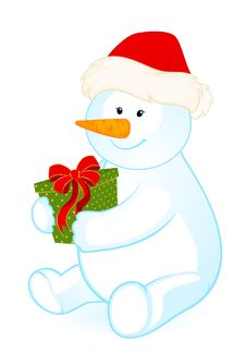 Free Little Cute Snowman With Gift Royalty Free Stock Photography - 17013547