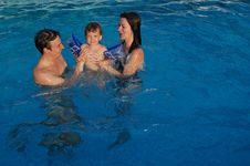 Free Family In Pool Stock Images - 17013594