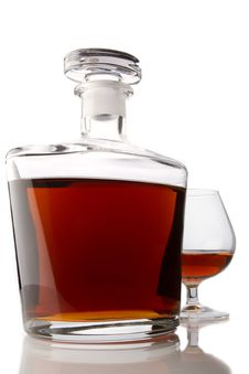 Free Cognac Glass And Bottle Stock Photo - 17014130