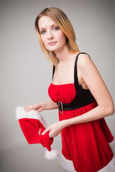 Christmas Girl In Santa Hat Stock Photography