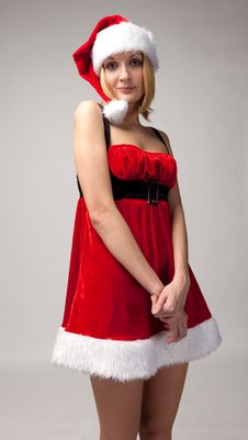 Free Christmas Girl In Santa Hat Royalty Free Stock Images - 17014389