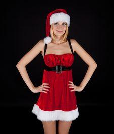 Free Christmas Girl In Santa Hat Stock Images - 17014394