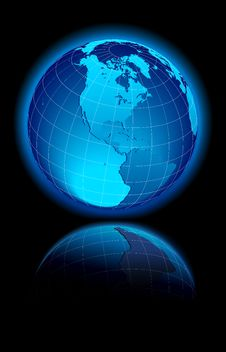 Free World On Black Background North & South America Royalty Free Stock Images - 17014619