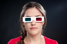 Free Teenager With 3D Glasses Watching Movie Stock Image - 17014701