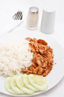 Free Thai Style Food, Pork Wiht Crunchy Garlic Stock Photography - 17017342
