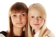 Portrait Two Girls Of The Blonde And Brunettes Royalty Free Stock Photo