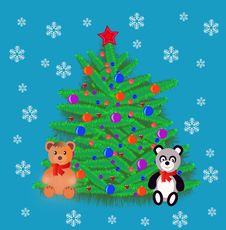New Year S Natty Fir Tree With Toy Royalty Free Stock Photo