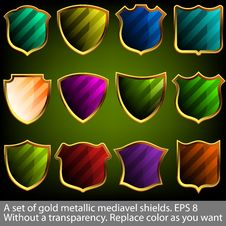 A Set Of Gold Metallic Mediavel Shields. EPS 8 Stock Photo