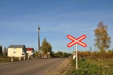 Unguarded Railway Crossing. Stock Photo