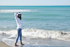 Free Happy Young Woman On Beach Stock Images - 17019704