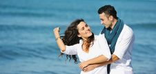 Free Happy Young Couple Have Fun At Beautiful Beach Royalty Free Stock Photos - 17019838