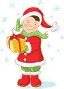 Free Christmas Dwarf Holding Present Royalty Free Stock Photography - 17026897