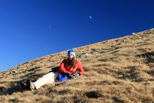 Free Trekking Girl Resting Royalty Free Stock Images - 17020029