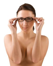 Free Topless Lady Holding Glasses Royalty Free Stock Image - 17020036