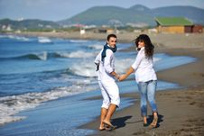Free Happy Young Couple Have Fun At Beautiful Beach Royalty Free Stock Images - 17020209
