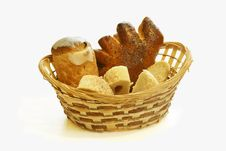 Free Bread In A Wattled Basket Royalty Free Stock Image - 17020246