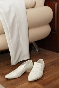White Man S Trousers And Shoes Royalty Free Stock Photo