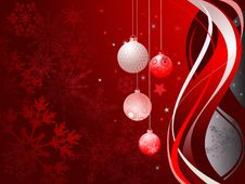 Free Abstract Red Background With Christmas Balls Stock Images - 17020444