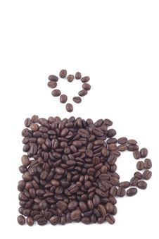 Coffee Cup Of Coffee Beans Royalty Free Stock Photos