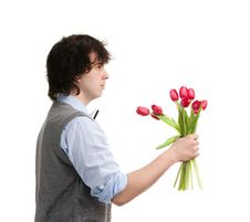Free Boy With Bouquet Royalty Free Stock Photos - 17020748