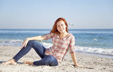 Free Happy Red-haired Girl At The Beach. Royalty Free Stock Photo - 17021165